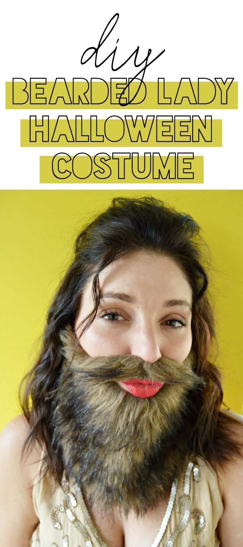 This DIY Bearded Lady Halloween Costume is so fun and easy! DIY Beard Easy DIY #Wholesale Halloween Costumes