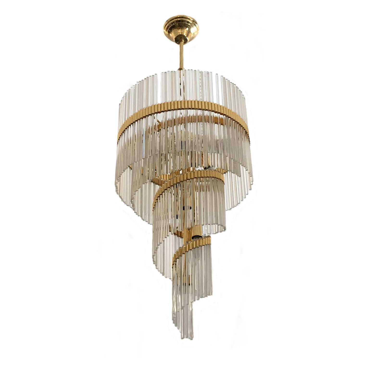 1970 Spiral glass Chandelier with gold brass structure