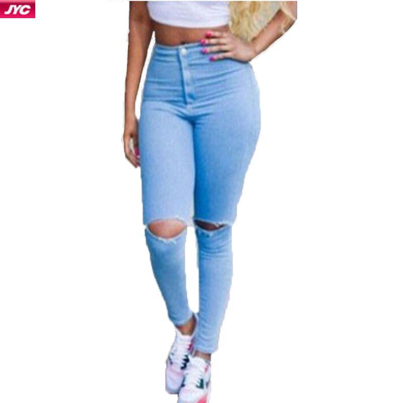 3f20b692b0 Cheap Caliente venta Ripped Jeans mujer Jeans cintura alta Sexy lápiz  mujeres Jeans Denim elástico pantalones flacos azul los pantalones vaqueros  más tamaño ...