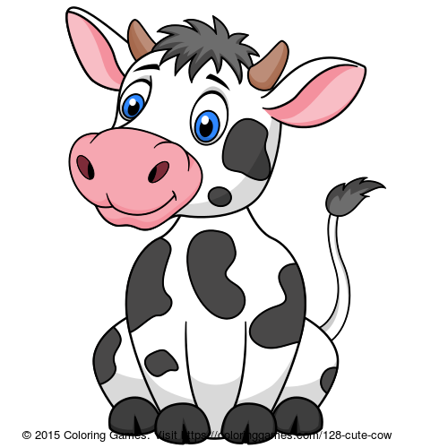 Cute Cow Coloring Games Coloring Pages Baby Animal Nursery Art Animated Cow Cute Cows