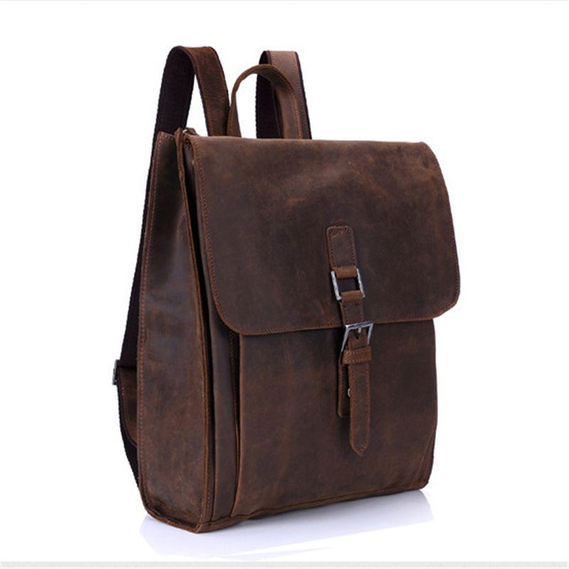 5ae9287650d6 Baigio кожа рюкзак мужчин старинный кожаный ранец рюкзаки опрятный стиль  мужские 14