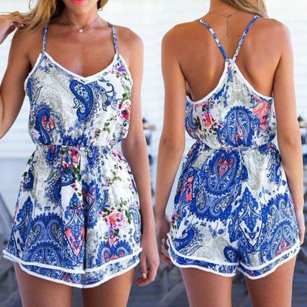 Sexy Spaghetti Strap Paisley Backless Romper For Women