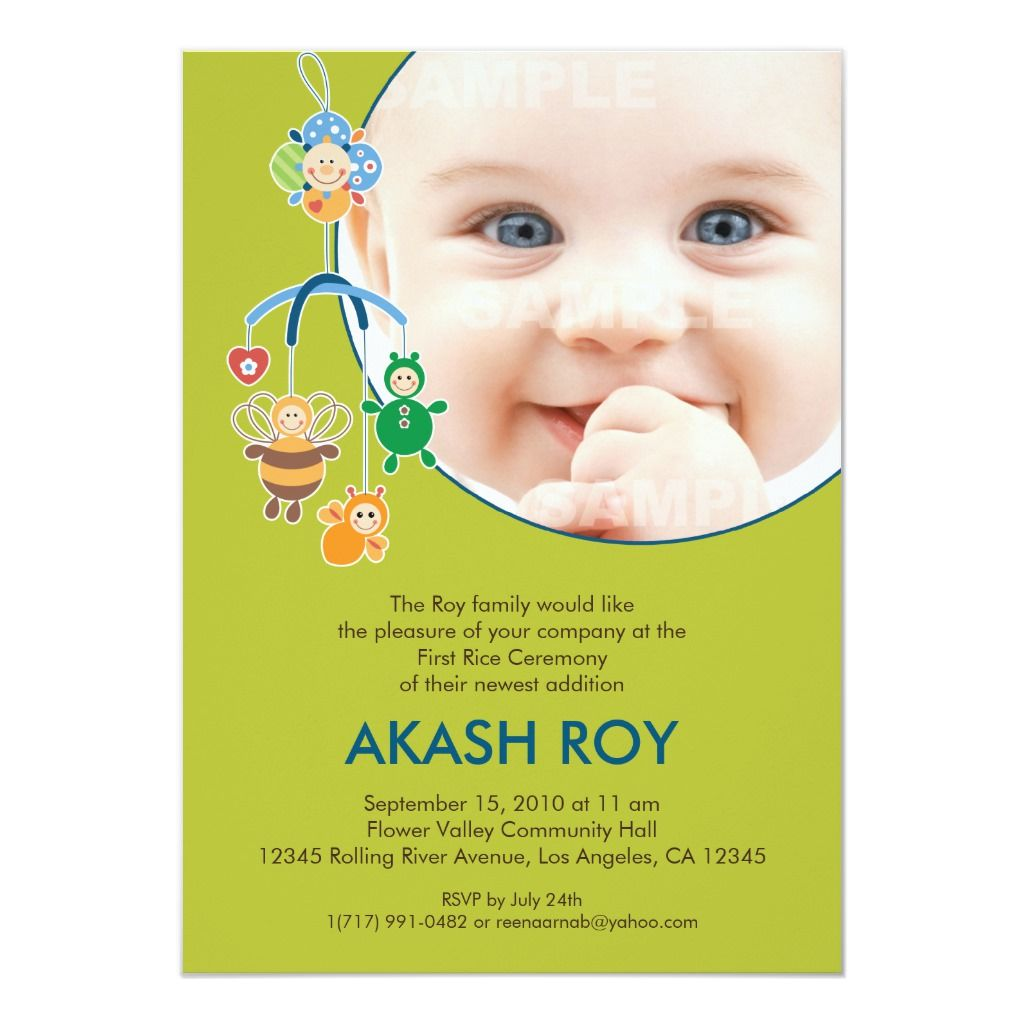 First Rice Ceremony Baby Mobile Invitation Zazzle Com Mobile Invitations Invitations Ceremony