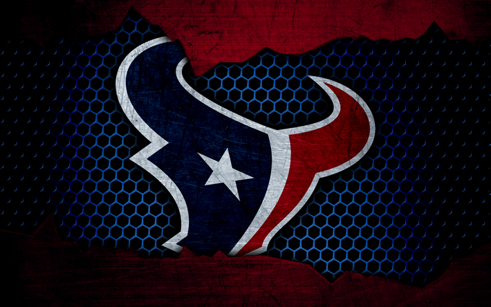 Download wallpapers Houston Texans, 4k, logo, NFL, american football, AFC, USA, grunge, metal texture, South Division