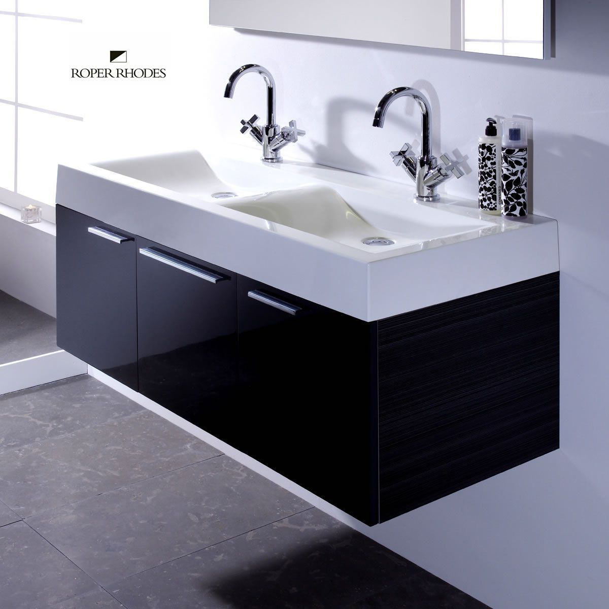 Roper Rhodes Envy 1200mm Wall Hung Unit With Double Basin Sink Vanity Unit Double Basin Vanity Unit Roper Rhodes