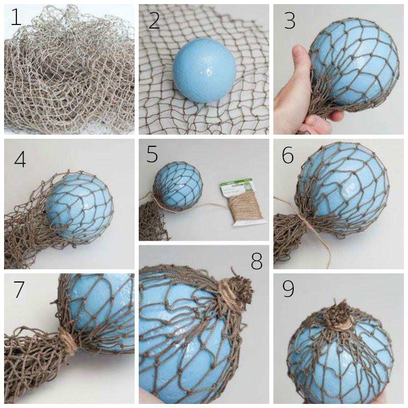 Diy Nautical Faux Glass Floats From Foam Balls Nautical