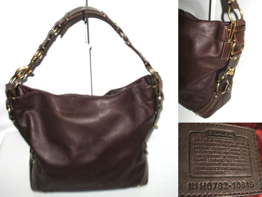 9ceeccb6e9 New condition! COACH CARLY 10616 Dark Brown Leather Hobo Bag   Dust ...
