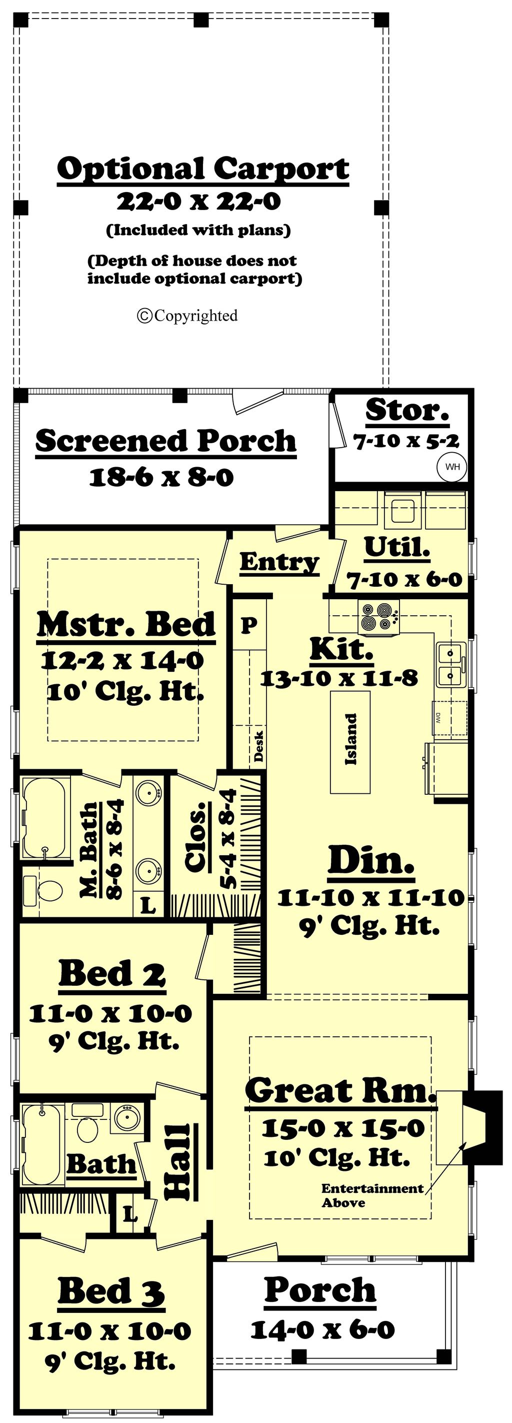 Cottage style house plan 3 beds baths 1300 sq ft for Small baths 1300