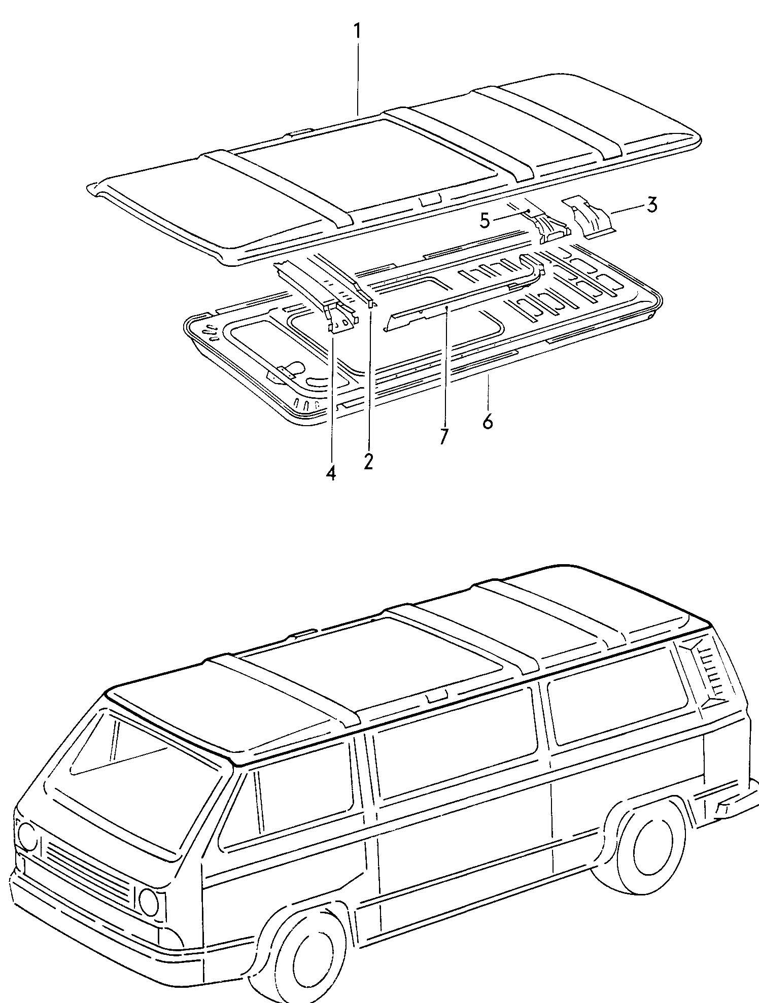 Roof for vehicles with manual sliding roof Volkswagen (VW
