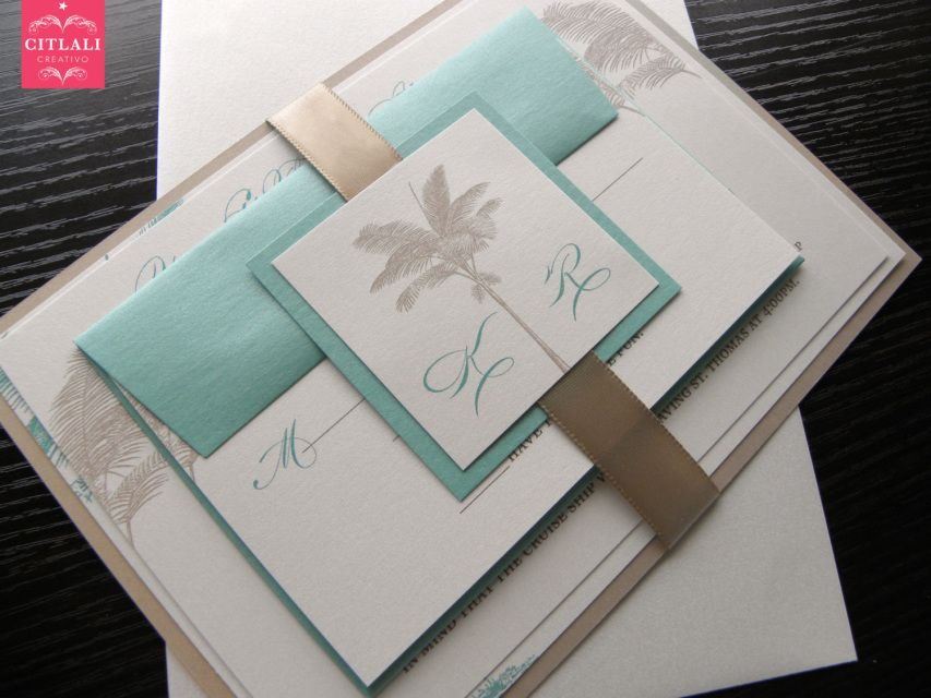 Beach Palm Trees Wedding Invitations with satin ribbon - Sand & Aqua blue / Tiffany - Made to order by citlalicreativo.com