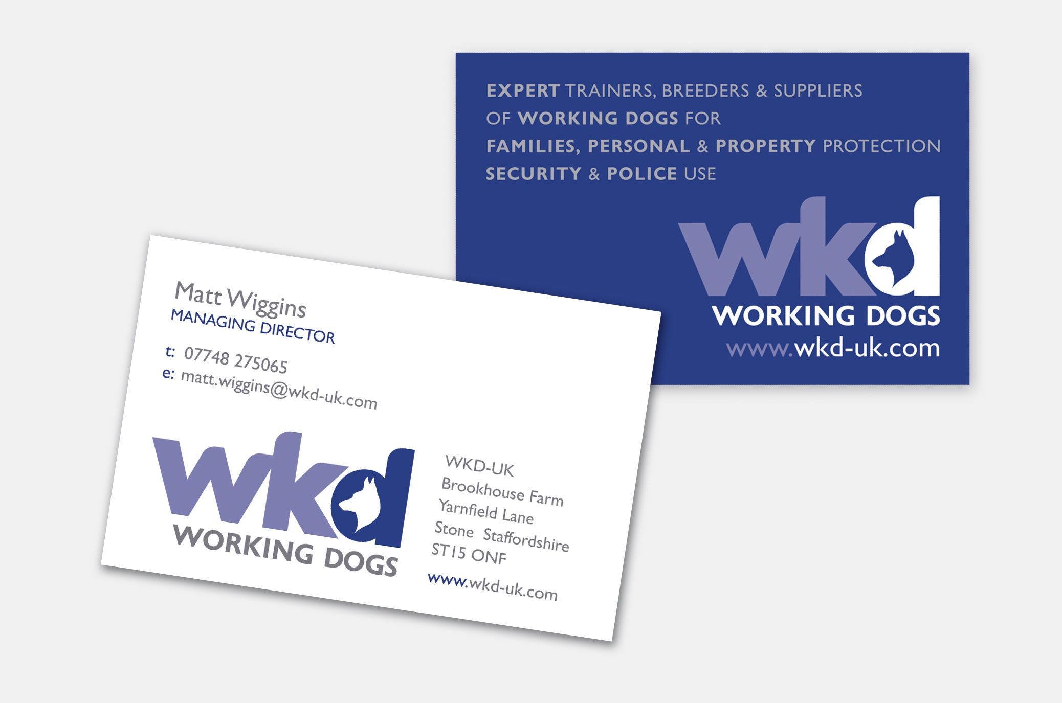 Business cards from working dog trainers, suppliers and breeders ...