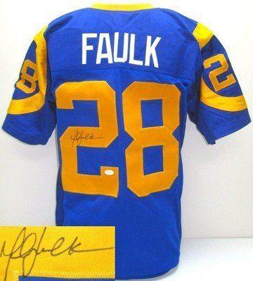 quality design a43f6 3a1a7 Marshall Faulk Autographed Prostyle Custom Blue Jersey JSA ...