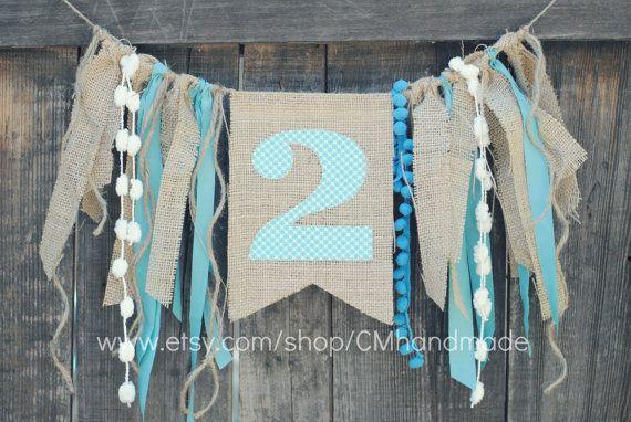 burlap & lace birthday banner - toile de jute et rubans