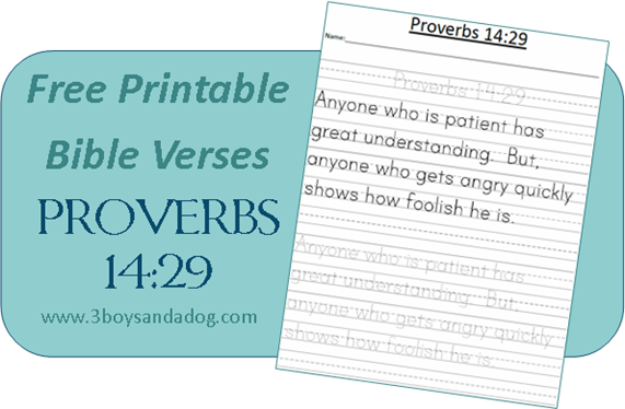 FREE Printable Bible Verses: Proverbs 14:29 | A Christian Path to