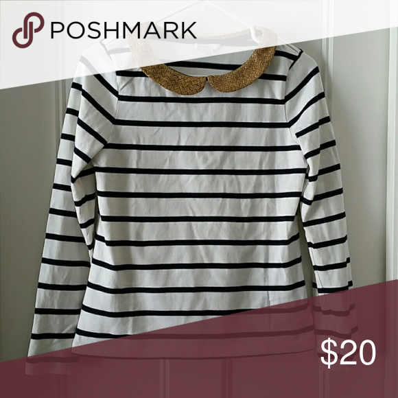 6602d0c681 Boden Striped Shirt Navy and off white stripe shirt with gold collar,  excellent condition, size 6 Boden Tops Tees - Long Sleeve
