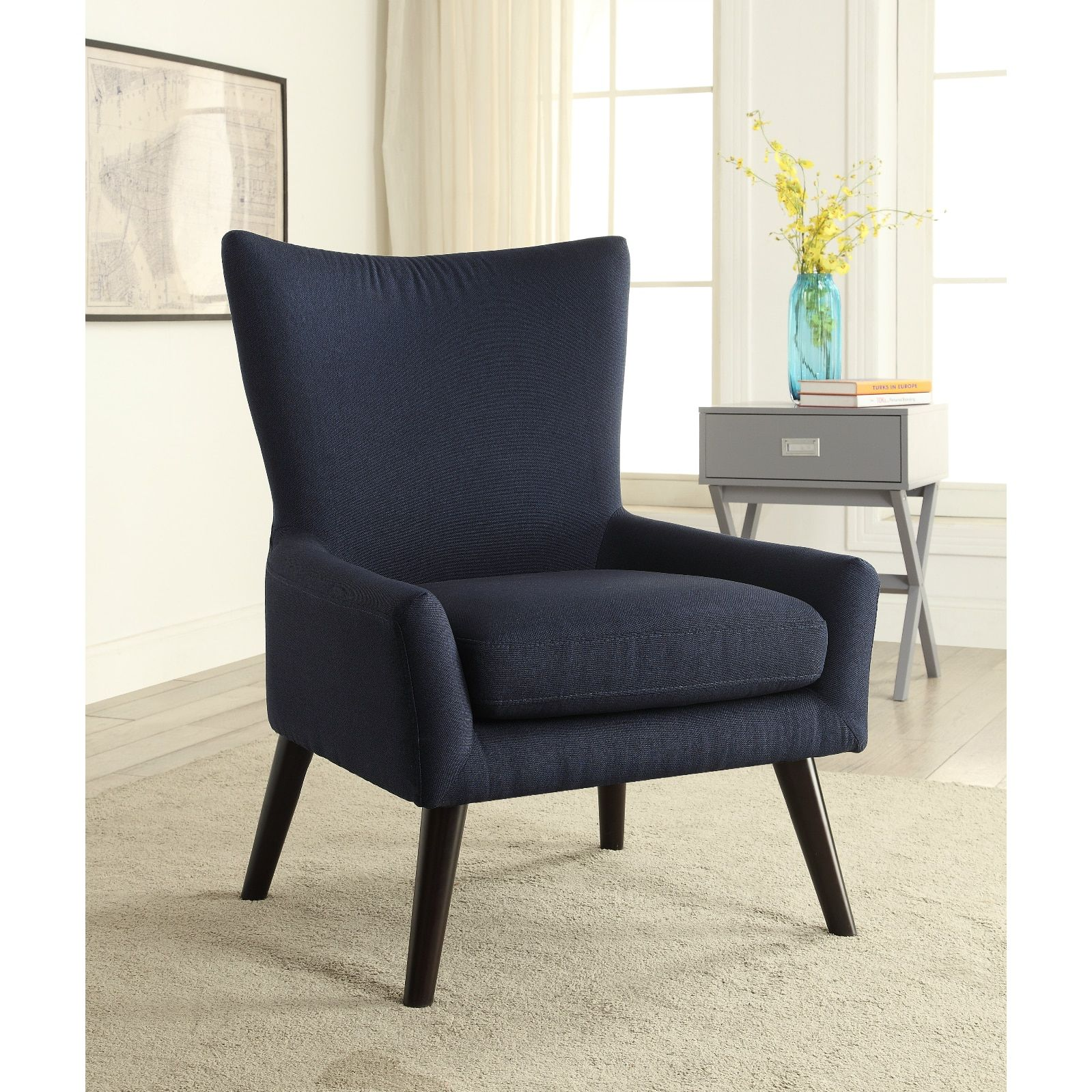 Mid Century Blue High Back Arm Chair  19137155  Overstock Classy High Back Living Room Chair Inspiration