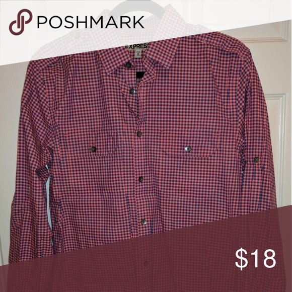 Express Men's Button Down Fitted, military cut, long-sleeve button down. 100% cotton. Pattern is red, oink and navy. Express Shirts Casual Button Down Shirts