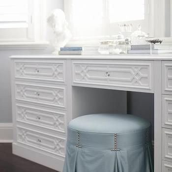 Round Blue Skirted Vanity Stool with Make Up Table Below Bay ...