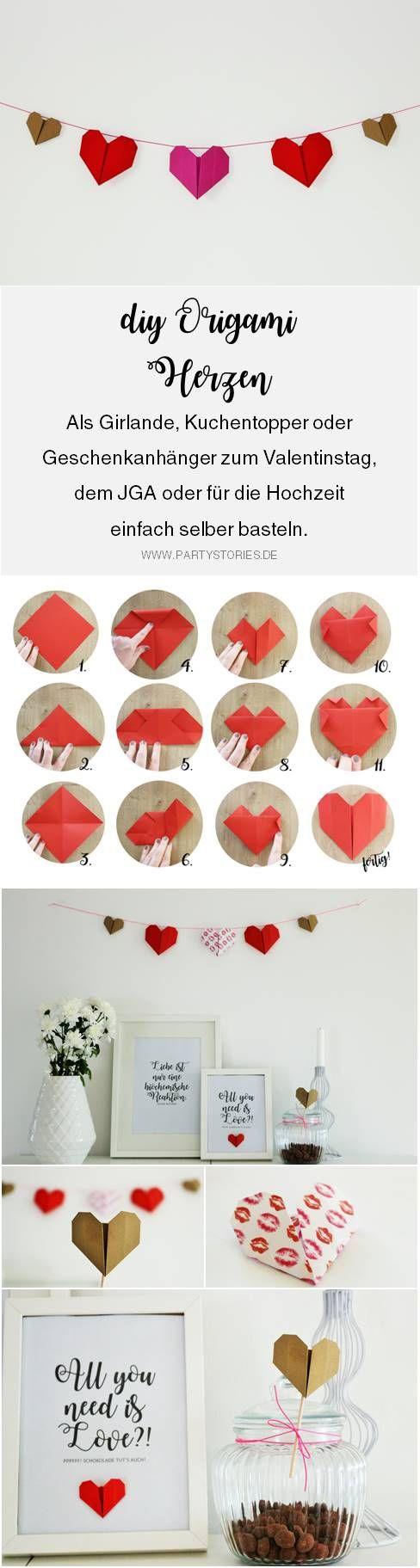 Anleitung für DIY Origami Herz #foldingnapkins