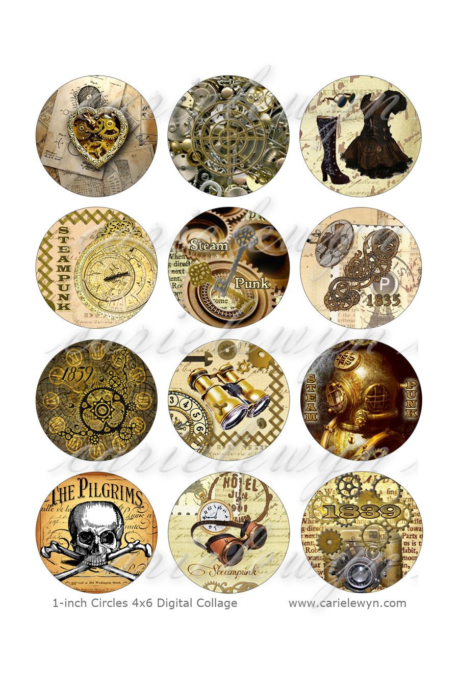 Steampunk Printable 1 Inch Circles Bottlecap Images