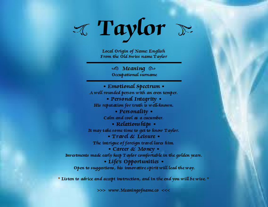Taylor The Name Meaning