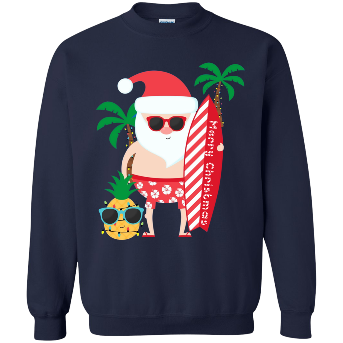 deefd393693 Santa Claus Surfing Hawaiian Shirt Summer Christmas Outfit G180 Gildan  Crewneck Pullover Sweatshirt 8 oz.