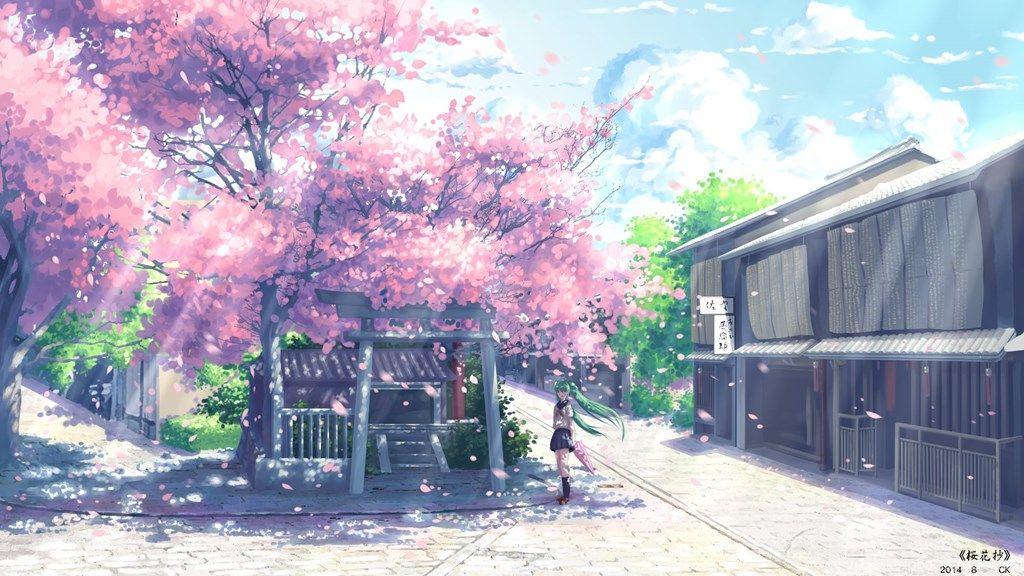 Download Vocaloid Hatsune Miku Anime Cherry Blossom School Uniform Desktop Background Desktop Bac Pemandangan Anime Latar Belakang Latar Belakang Bunga