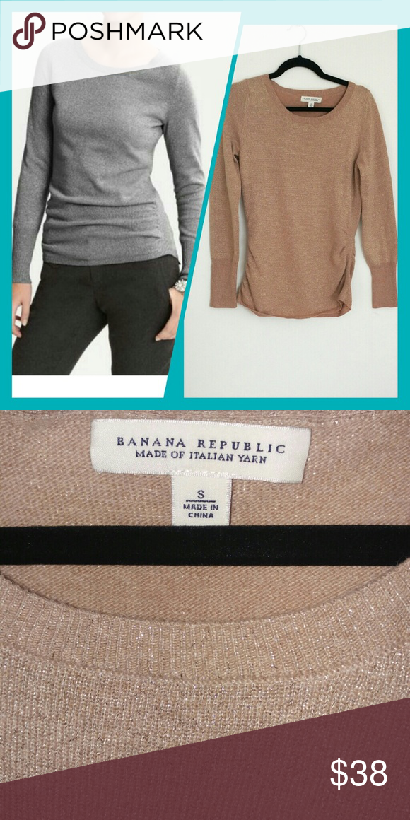 Banana Republic Gold Metallic Sweater Beautiful cashmere blend metallic gold sweater Note: model is wearing the sweater in a different color. The one for sale is gold. Excellent condition. Made with Italian yarn. ?39% nylon, 37% wool, 11% poly, 7% cashmere, 6% metallic. Banana Republic Sweaters Crew & Scoop Necks