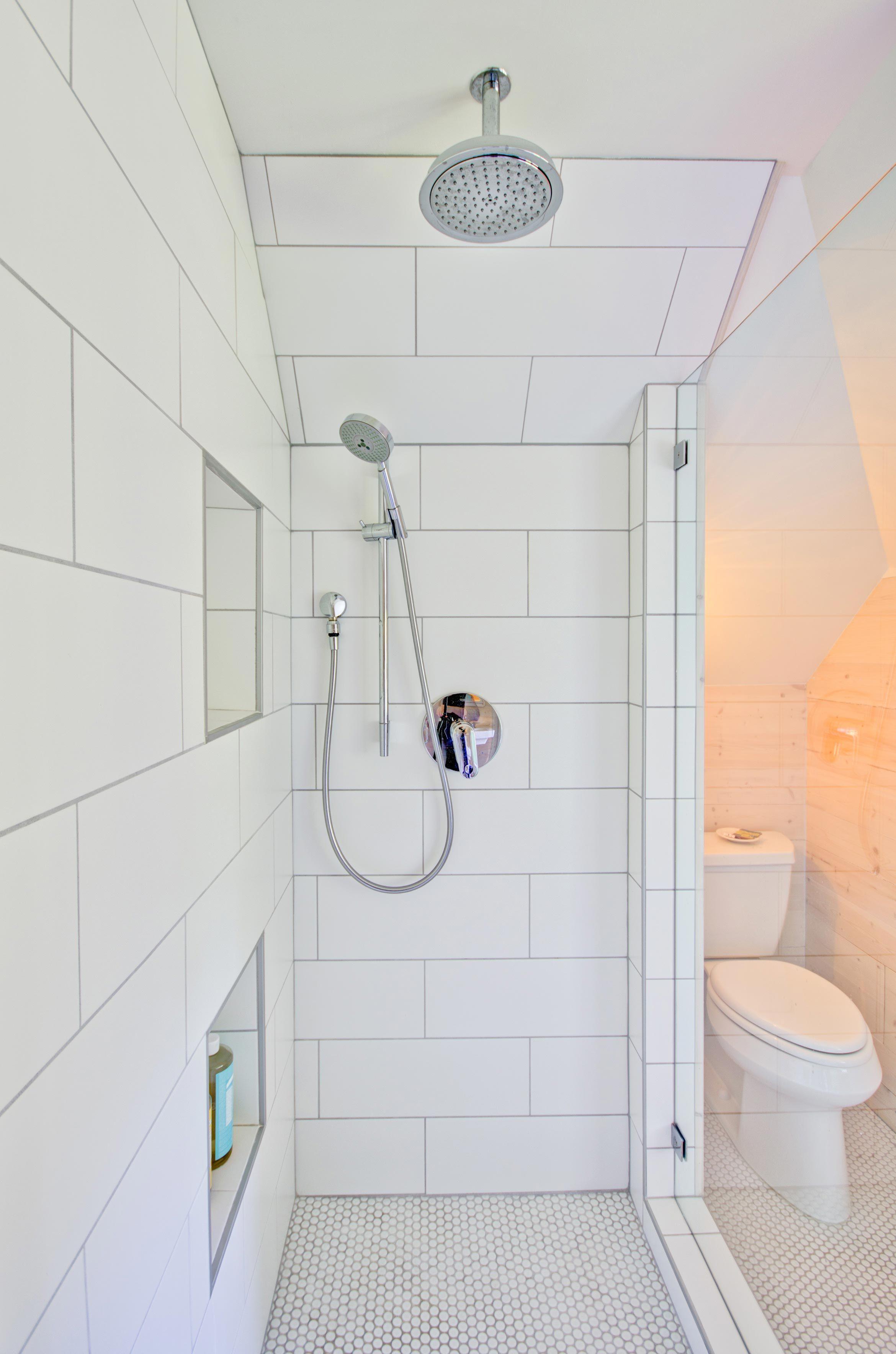 Large White Subway Shower Tile in Modern Farmhouse Bathroom Remodel  Hammer  Hand  Bathroom