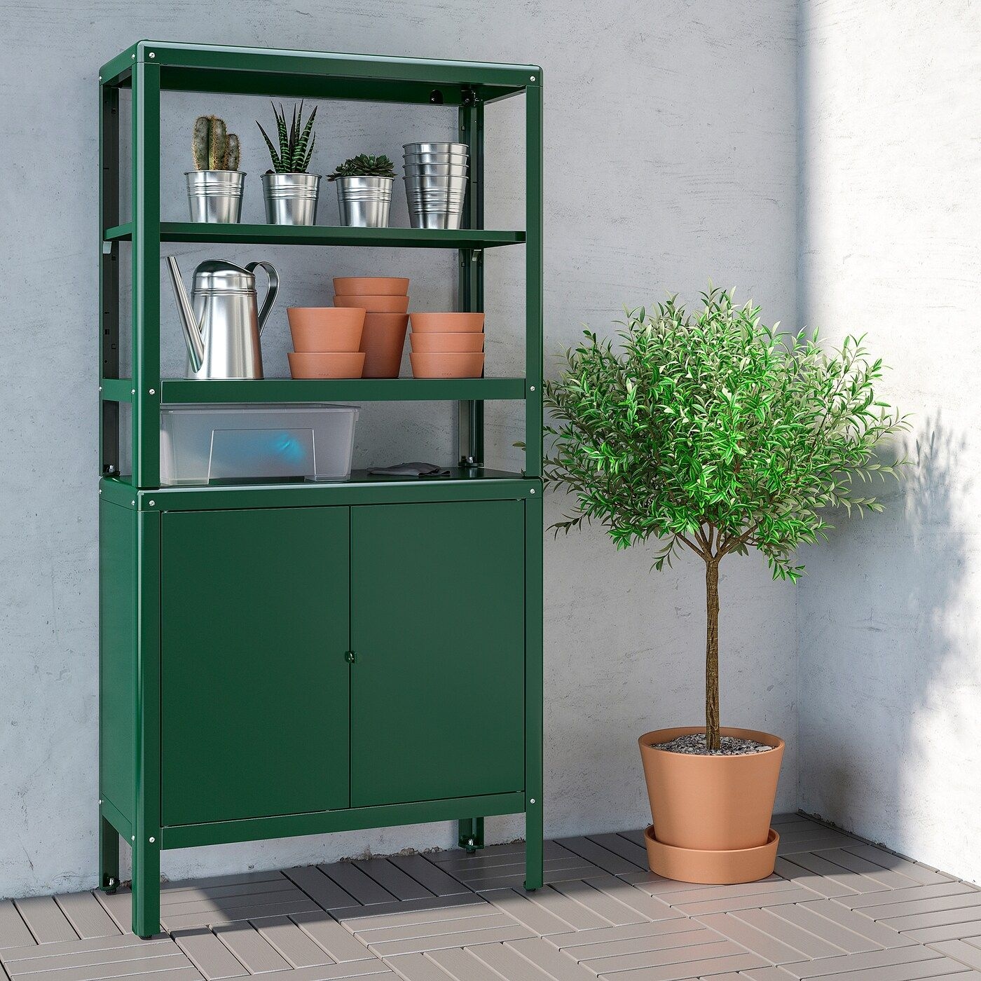 Kolbjorn Shelving Unit With Cabinet Green 31 1 2x14 5 8x63 3 8