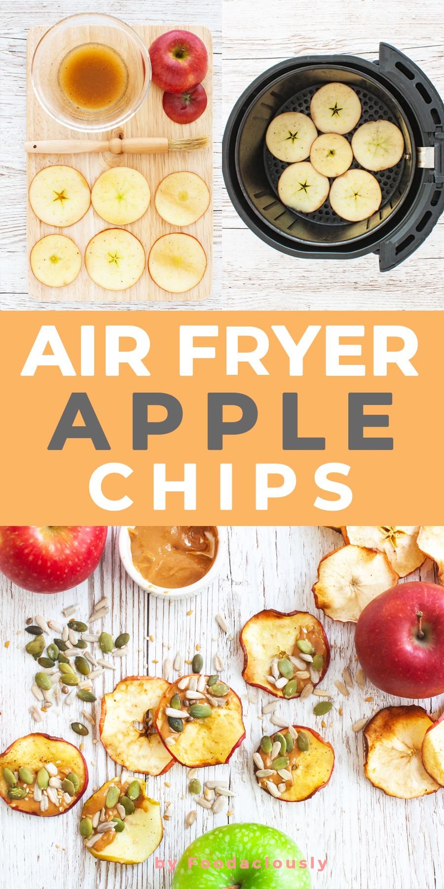 Air Fryer Apple Chips with Cashew Butter and Seeds