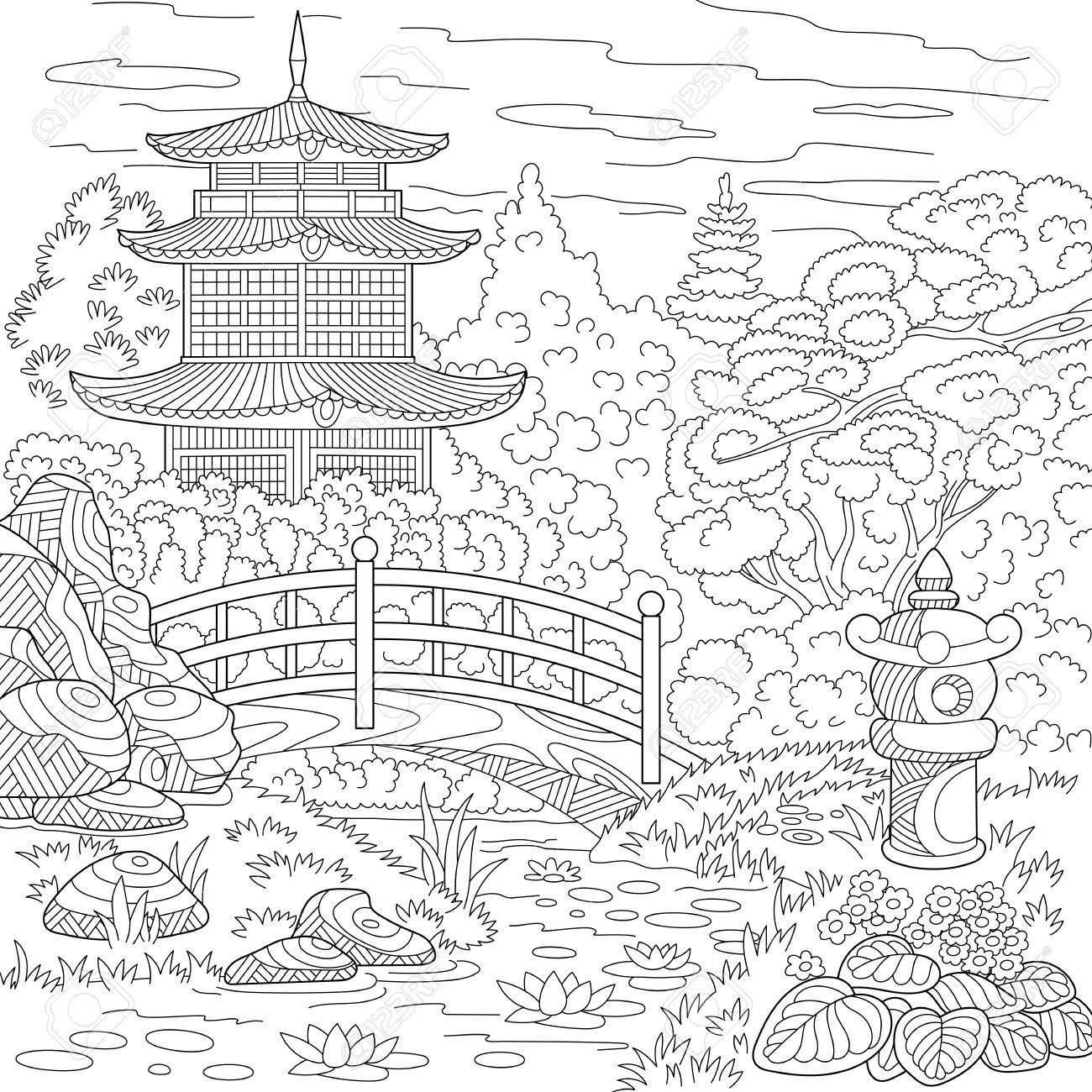 Japanese Coloring Book Pages.  temple japanese or chinese tower pagoda Landscape with trees lake stones flowers Freehand sketch for adult anti stress coloring book page 61801782 Stylized oriental