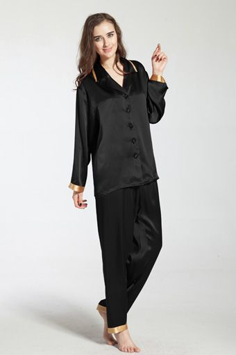 Black Silk Pajamas: 22 Momme Laced Silk Pajama Set