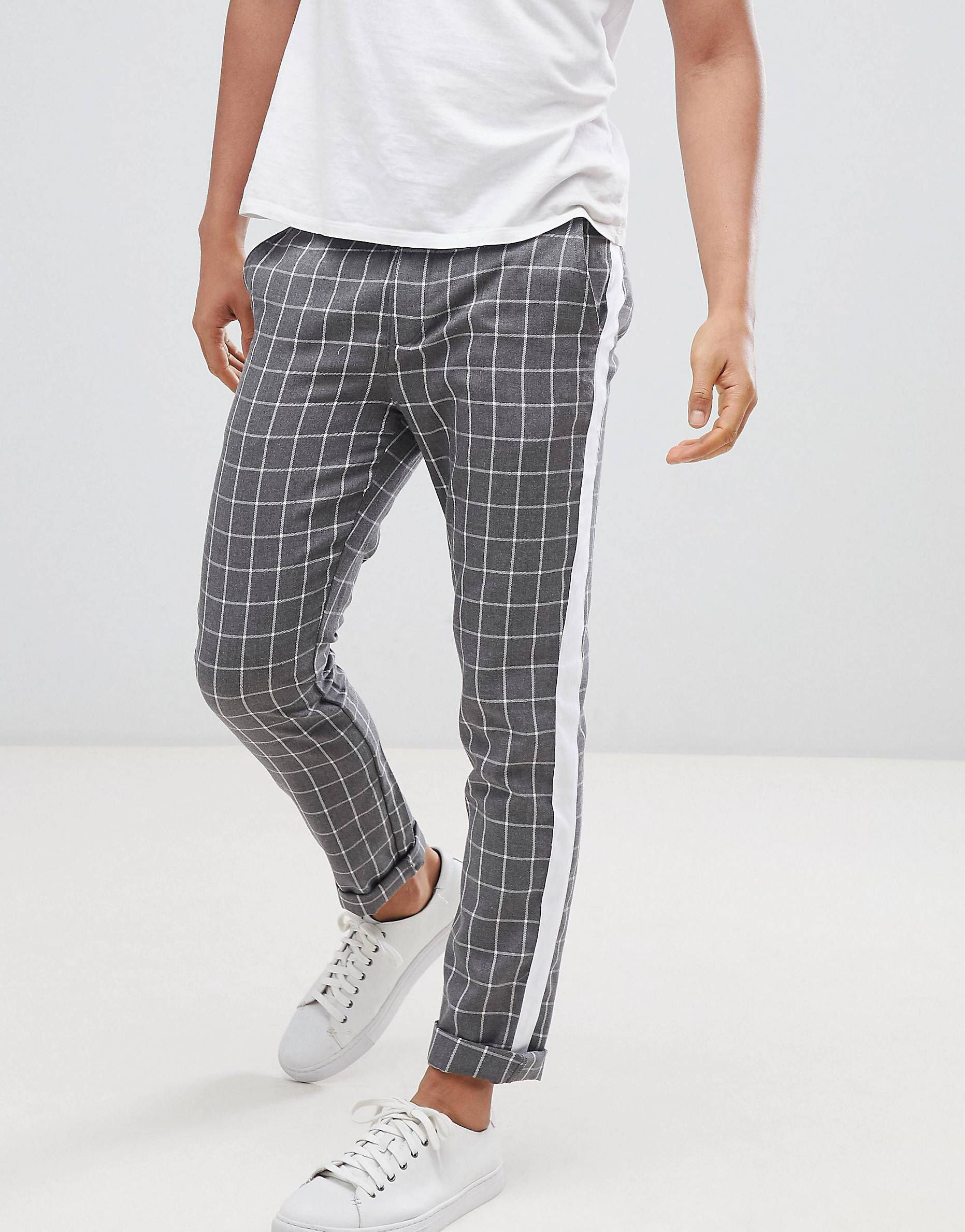 93dff4680a3ced DESIGN Slim Pants In Gray Check With Side Stripe in 2019 | trousers ...