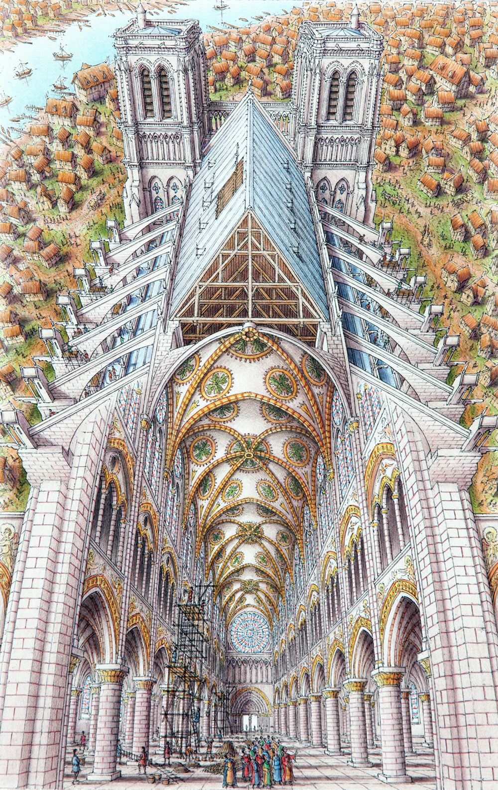 Architecture Drawing Illustrator stephen biesty - illustrator - inside-out views_notredame | to be