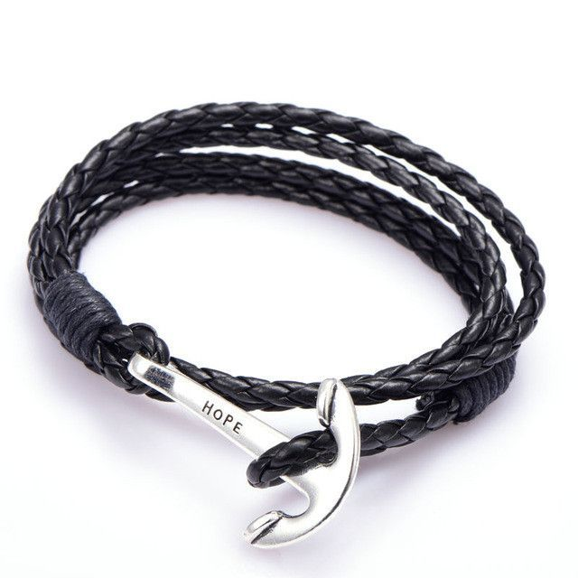 40cm PU Leather Men Bracelet Jewelry Man Anchor Bracelet