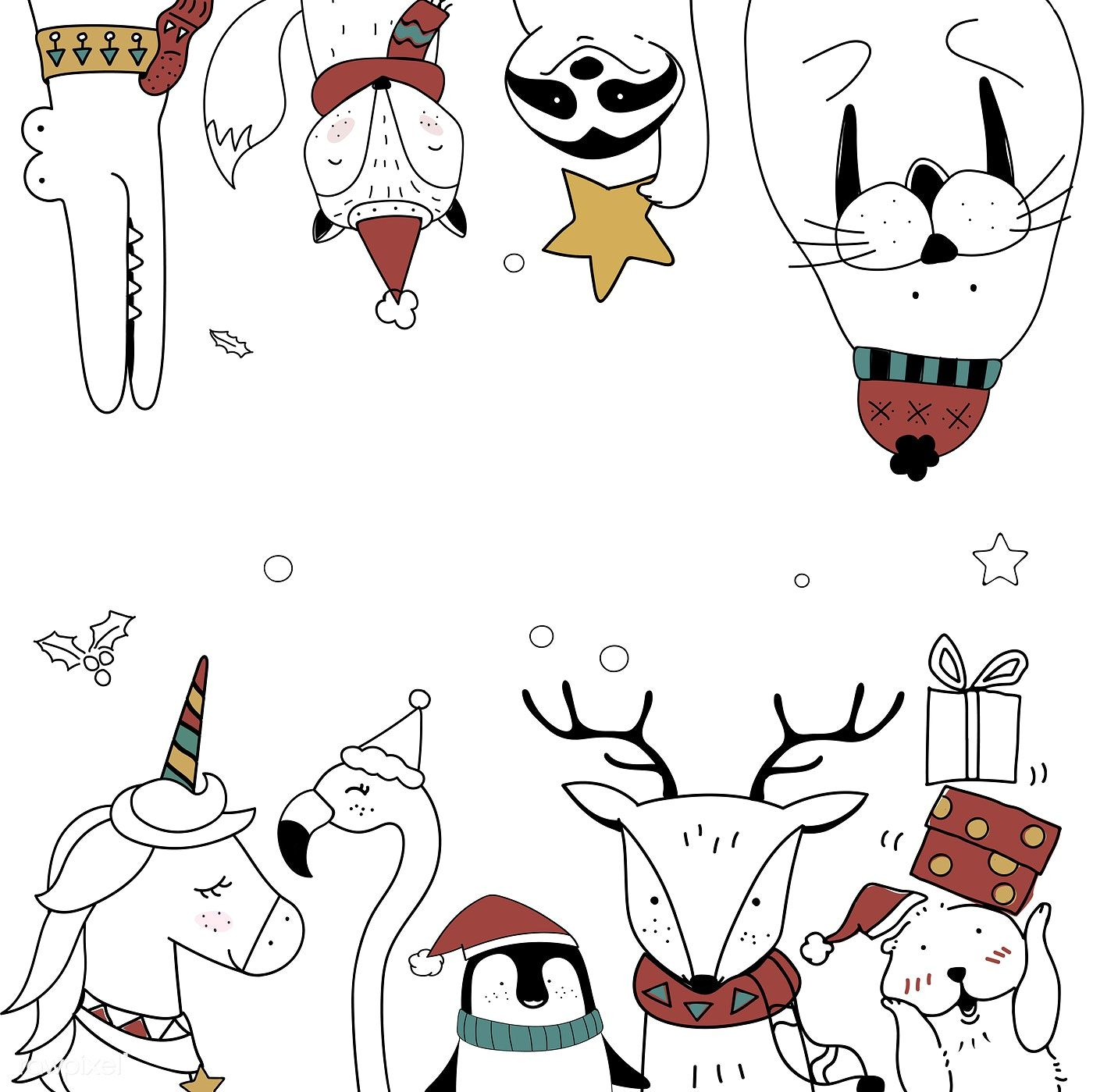 Download premium vector of Hand drawn animals enjoying a