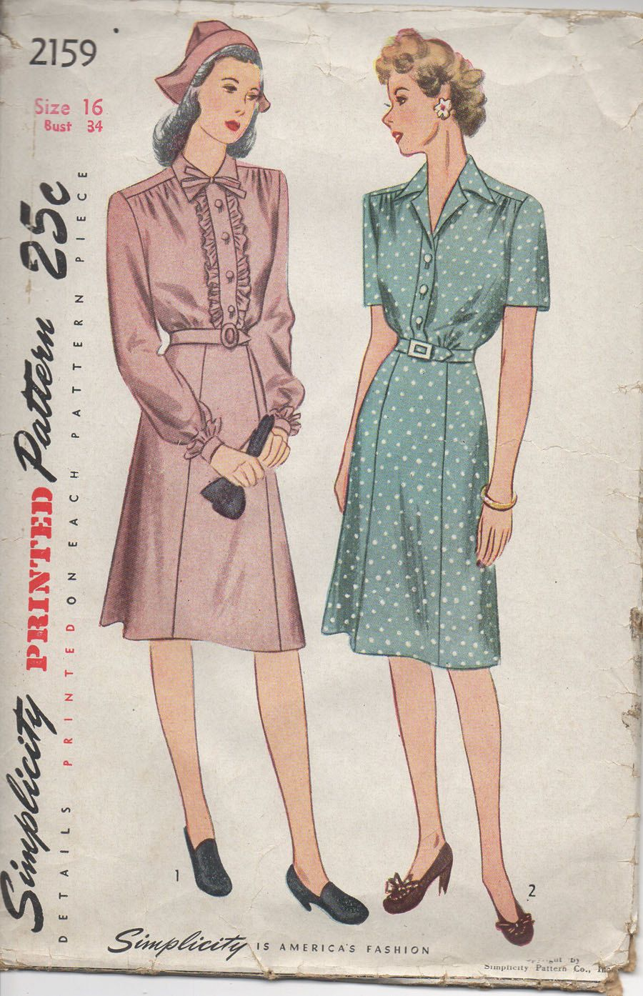 Simplicity 2159 1940 S Day Dress By Seamssustainable On Etsy Simplicity Patterns Dresses One Piece Dress Pattern Dress Women