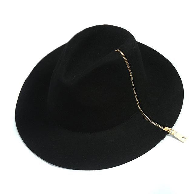 d27d3104287f42 Women black zipper Pure Cashmere Wool Solid Hats ladies winter warm Felt  Floppy Hat for men