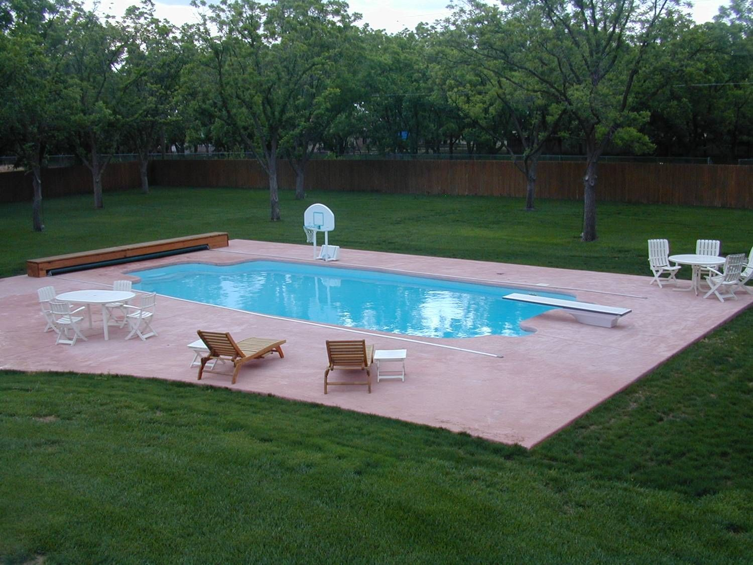Swiming Pools Floating Pool Basketball With Wooden Loungers Also Stainless Outdoor Tables And Metal Patio