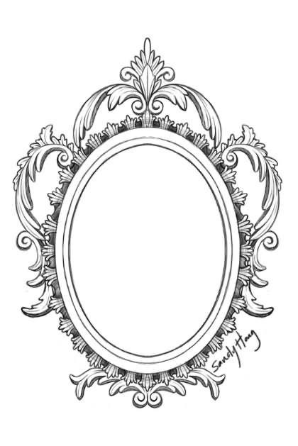 Amazing Victorian Hand Mirror Tattoo Design Mirror Tattoos Framed Tattoo Mirror Drawings