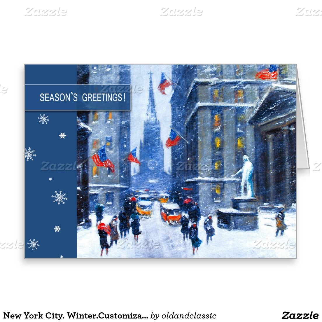 Seasons Greetings Customizable Christmas Card With The Wall Street