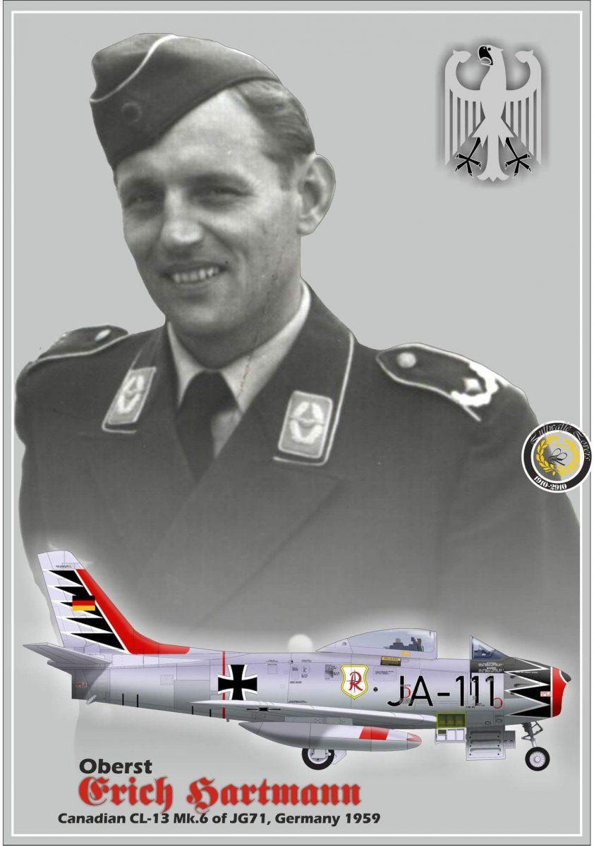 Luftwaffe Canadair CL-13B Sabre Mk 6 JA-111 Erich Hartmann's personal  aircraft.