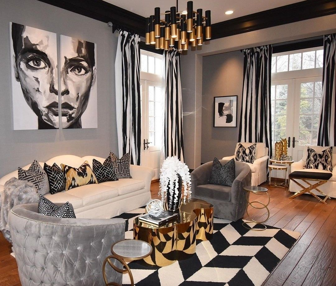living room luxury decor black and white stripes in 2020 on beautiful modern black white living room inspired id=82190