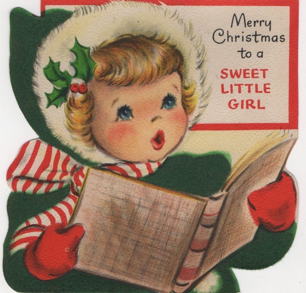 Hallmark Pretty Girl Lady Sings Carols Music Book Vtg Greeting Card