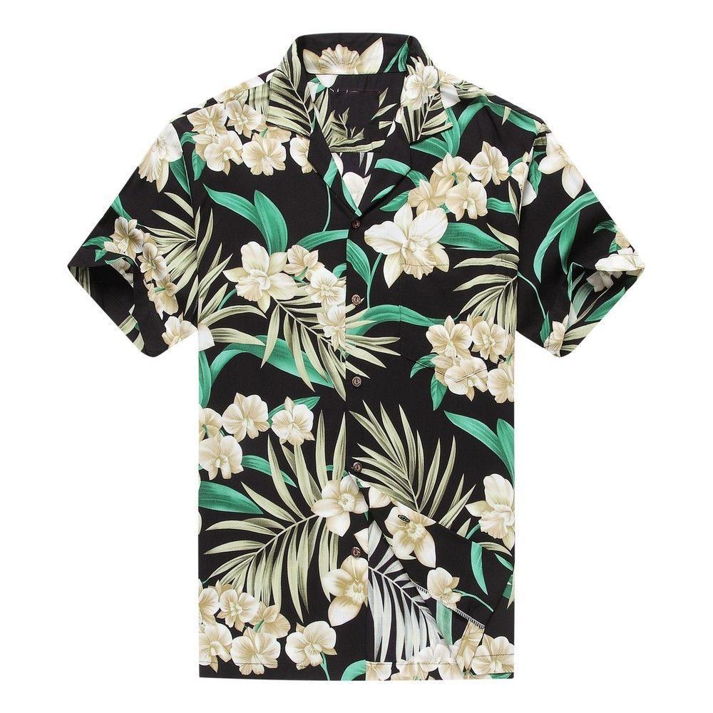 Made in Hawaii Mens Hawaiian Shirt Aloha Shirt Grey Floral with Green Leaf in Black