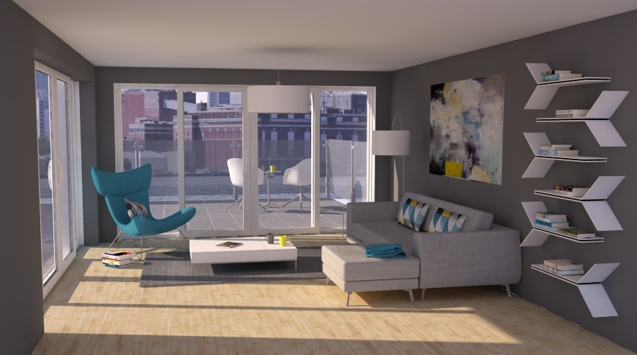 Great Living Room On Behance   3D Visual   SketchUp   SU Podium Rendering    BoConcept Furniture