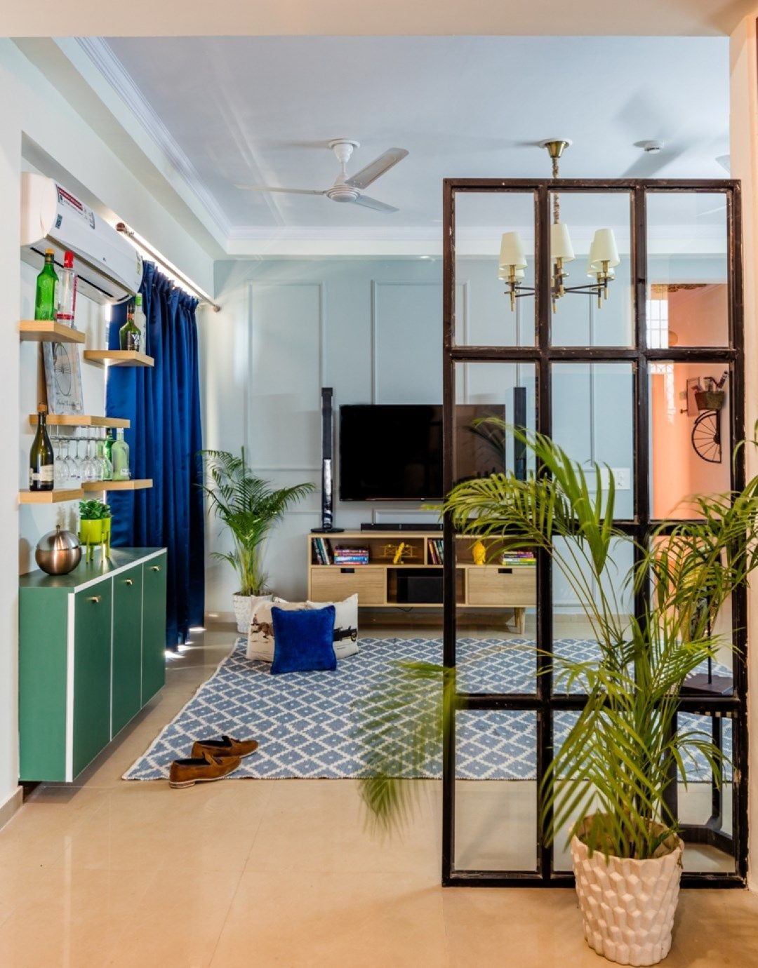 A Calm and Beautiful Home in the busy Noida City | Amusing Interiors - The Architects Diary | Apartment interior, Apartment interior design, Small studio apartment decorating