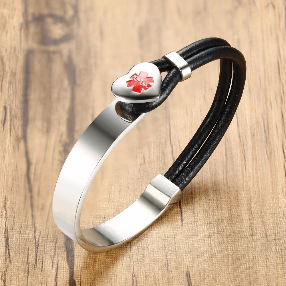 Leather stainless steel bracelet for men women medical symbol leather stainless steel bracelet for men women medical symbol heart charm cuff bangle black silver male buycottarizona Images