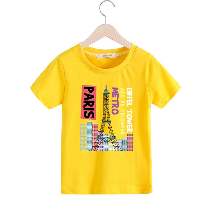 2017 New Eiffel Tower Pattern Printing T-shirt For Boy Girls Summer Clothes  Children Cartoon Design Casual Tee Tops Costume T008   Price   9.95     baby 509ee963611e